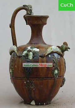 Chinese Classic Archaized Tang San Cai Statue-Phoenix Shaped Handle Kettle