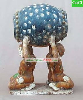Chinese Classic Archaized Tang San Cai Statue-Men Holding up Drum