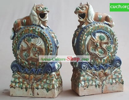 Chinese Classic Archaized Tang San Cai Statue-Pair of Foo Dog Frusta