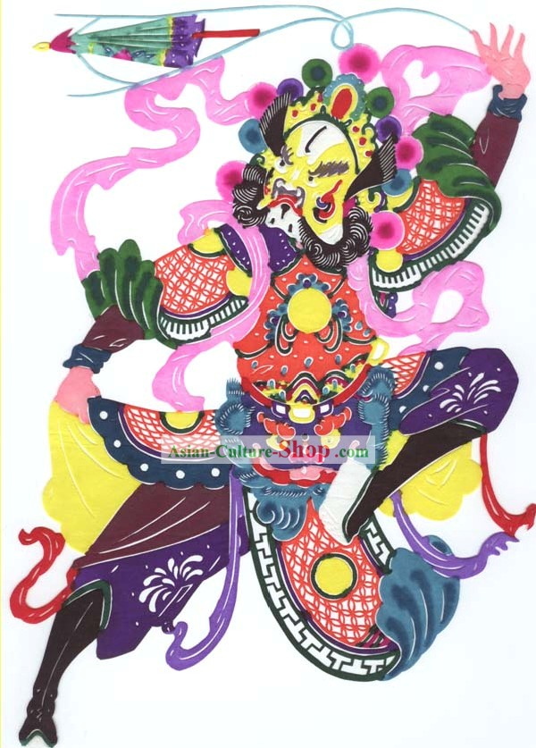 Chinese Classic Hand Made Papercut-One of the Four Heaven Kings 1