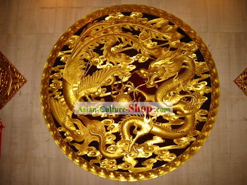 Chinese Palace 100 Percent Hand Carved Golden Dragon and Phoenix Large