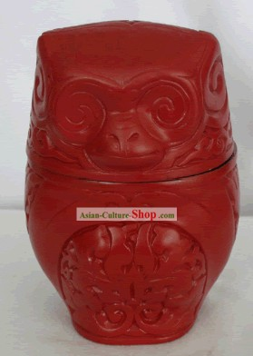 Chinese Hand Carved Palace Lacquer Box-Gorilla