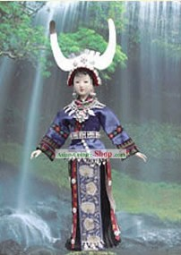 Handmade Peking Silk Figurine Doll - Yi Minority Girl