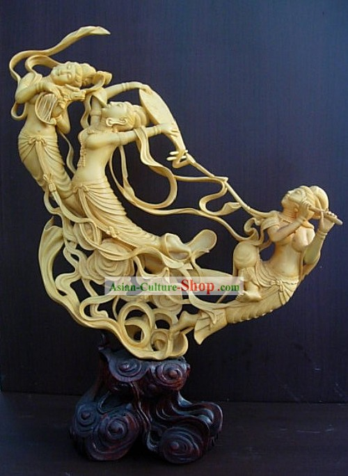 Chinese Hand Carved Sculpture-Ancient Flying Angel