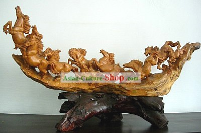 Chinese Hand Carved Sculpture-Running Horses Group