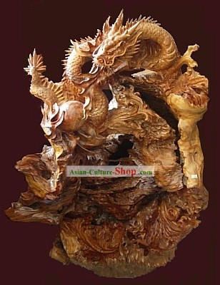 Chinese Hand Carved Wood Sculpture-Double Lucky Dragons Playing Balls