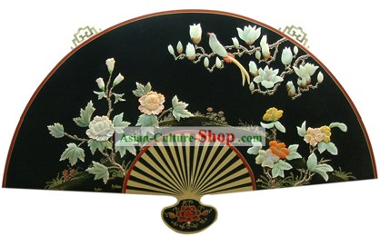 Chinese Palace Hanging Lacquer Ware Large Mirror Fan-Peony and Bird