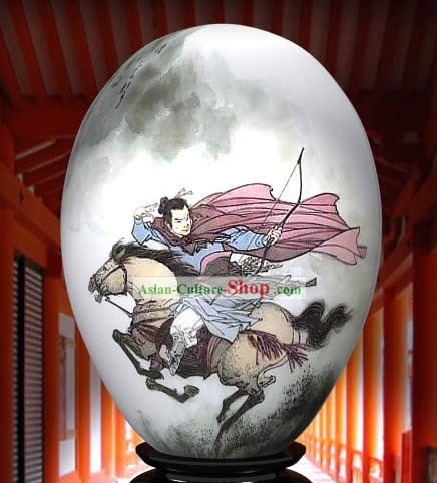 Chinese Wonders Hand Painted Colorful Egg-Chinese Ancient Knight