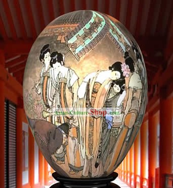 Chinese Wonder Hand Painted Colorful Egg-Ancient Palace Beauties Painting