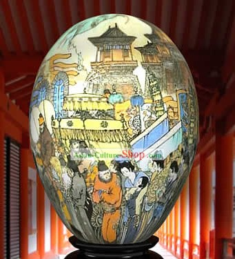 Chinese Wonder Hand Painted Colorful Egg-Ancient Town Market Painting