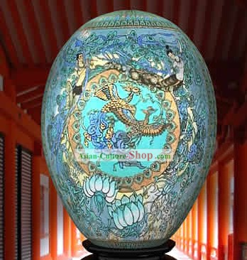 Chinese Wonder Hand Painted Colorful Egg-Palace Love Painting