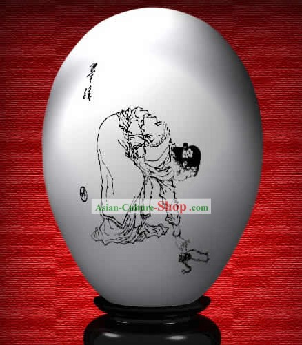 Chinese Wonder Hand Painted Colorful Egg-Jade Girl of The Dream of Red Chamber