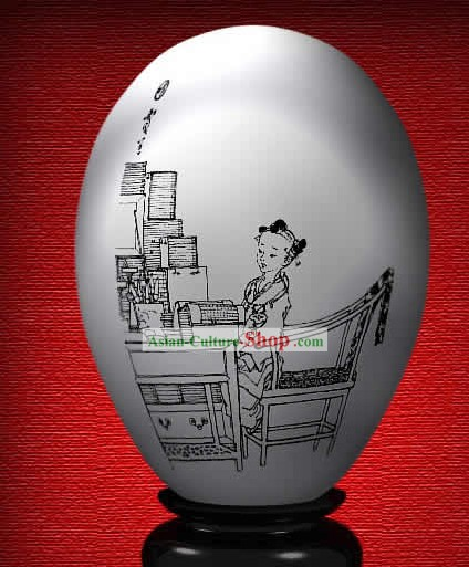 Chinese Wonder Hand Painted Colorful Egg-Jia Lan of The Dream of Red Chamber