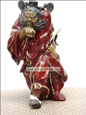 Hand Made Shi Wan Artistic Ceramics Statue-Zhong Kui Catching Ghost