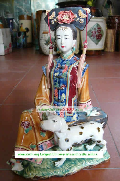 Hand Made Shi Wan Ceramics Statue-Qing Dynasty Princess