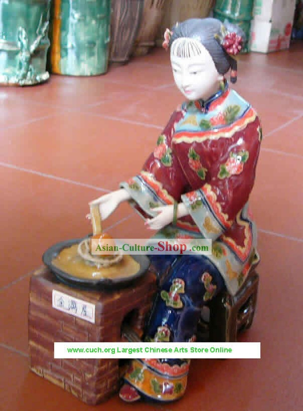 Hand Made Shi Wan Ceramics Statue-Palace Woman Cooking Dishes