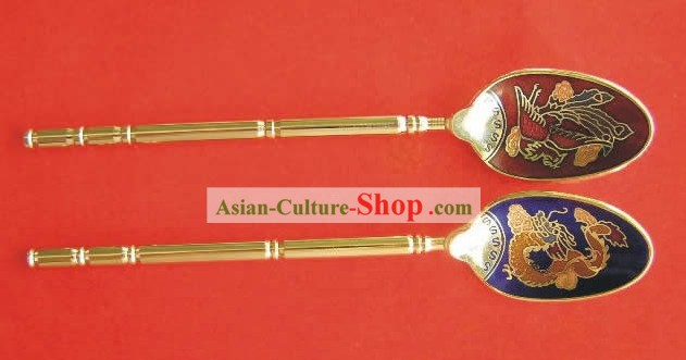 Chinese Cloisonne Coffee Spoon for Lovers(two pieces)