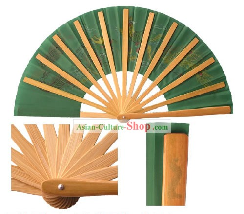 Chinese Dragon and Phoenix Professional Green Mu Lan Martial Arts Bamboo Fan