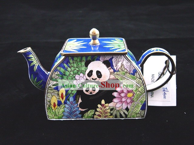 Chinese Hand Painted Enamel Colorful Kettle-Panda Mother and Baby