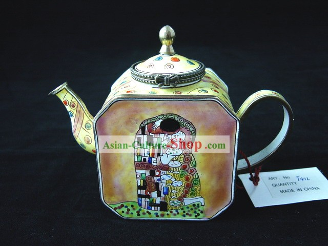Chinese Hand Painted Enamel Colorful Kettle-Kiss