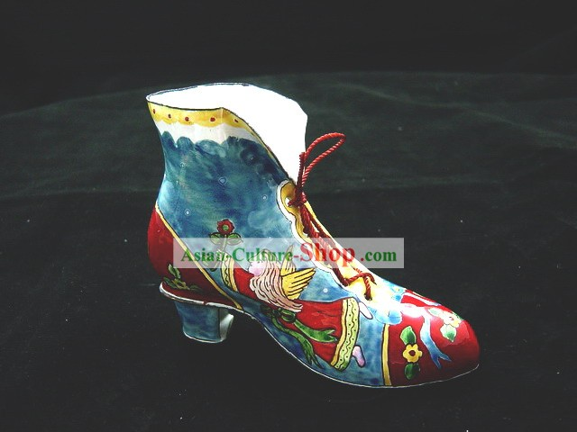 Chinese Hand Painted Enamel Craft-Boot of Angel