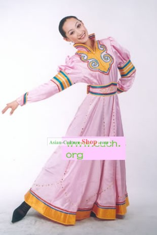 Mongolian Minority Pink Dancing Costume for Woman