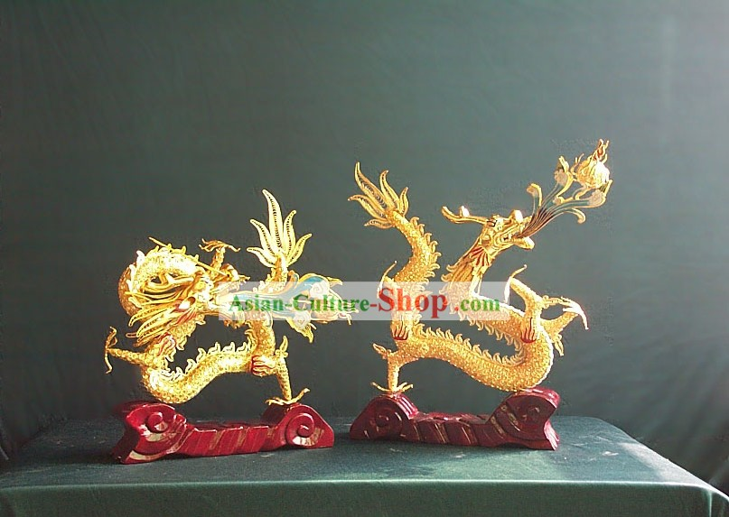 Chinese Gold Brass Cloisonne Lucky Dragon Pair