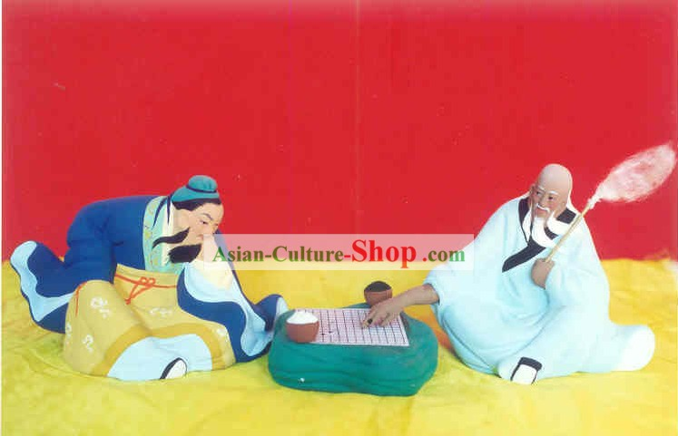 Chinese Hand Painted Sculpture Art of Clay Figurine Zhang-Playing Chess