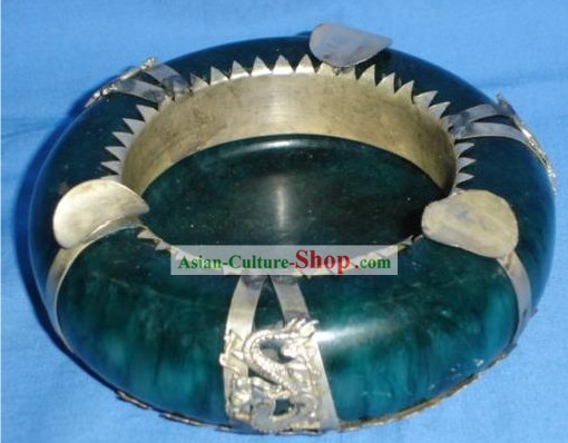 Chinese Ancient Style Green Jade and Silver Ashtray