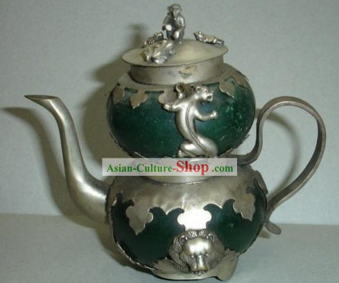 Chinese Ancient Lion Style Silver and Jade Kettle
