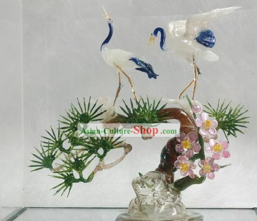 Chinese Classic Coloured Glaze Works-Pine Tree and Cranes