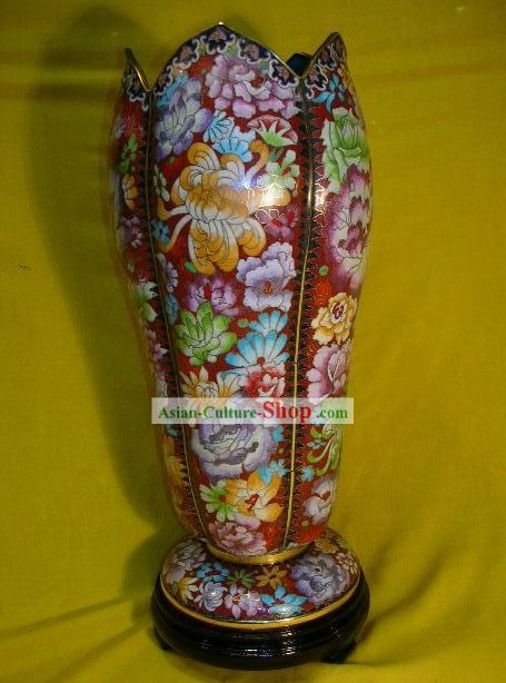 Chinese Stunning Flowery Design Cloisonne Vase
