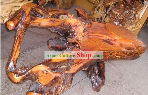 Chinese Stunning Hand Carved Tree Root Tea Table