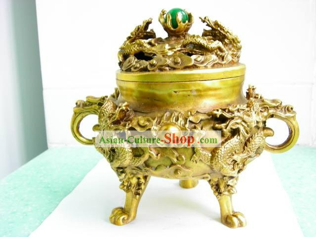 Chinese Stunning Double Dragon Playing Ball Censer