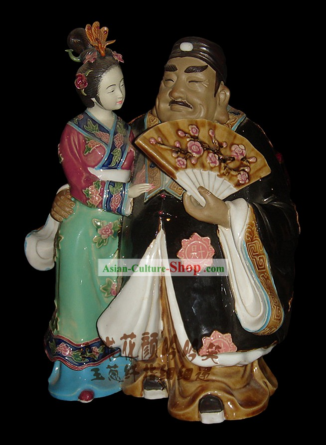Chinese Stunning Colourful Porcelain Collectibles-Wealthy Man and Woman