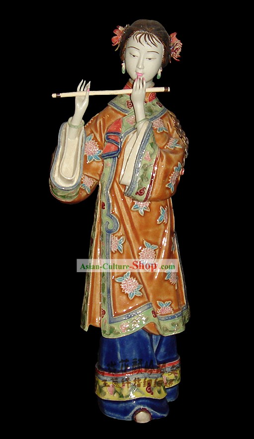 Chinese Stunning Colourful Porcelain Collectibles-Ancient Beauty Playing Xiao