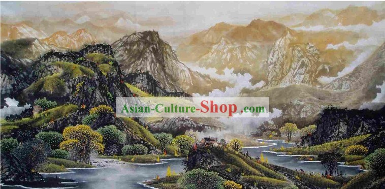 Large Traditional Chinese Painting by Shi Yiren-Mountain