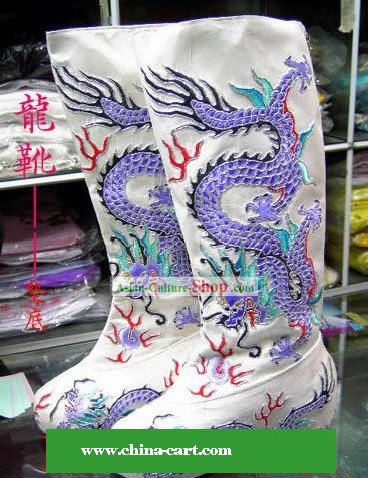 Chinese Ancient Hand Embroidery Dragon Boots for Men
