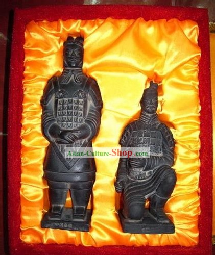 Chinese Terra Cotta Warriors Statue Artwork Set(two pieces)