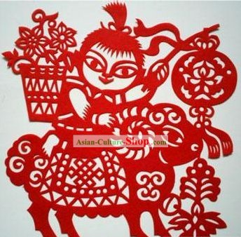 Chinese Paper Cuts Classics-Lucky Goat Child
