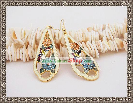 Chinese Ancient Mandarin Style Cloisonne Earrings-Memory