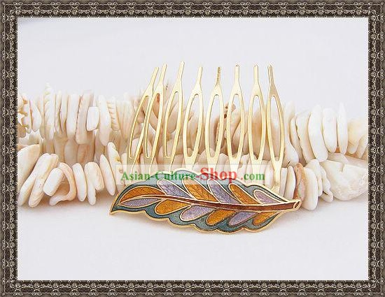 Chinese Ancient Mandarin Style Cloisonne Hairpin-Leaf