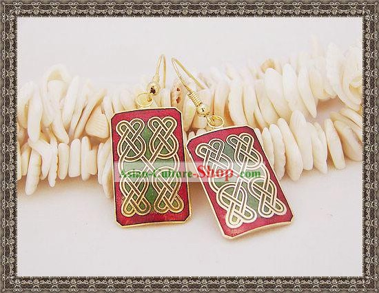 Chinese Classic Cloisonne Earrings-Knitting