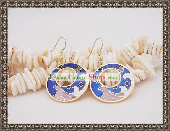 Chinese Classic Cloisonne Earrings-Blue Spray