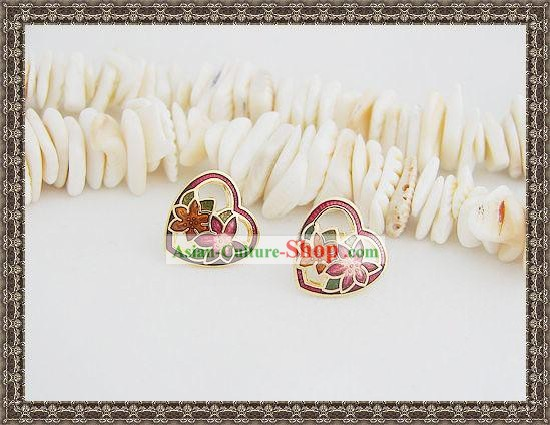 Chinese Classic Cloisonne Ear Studs-Heart Flower