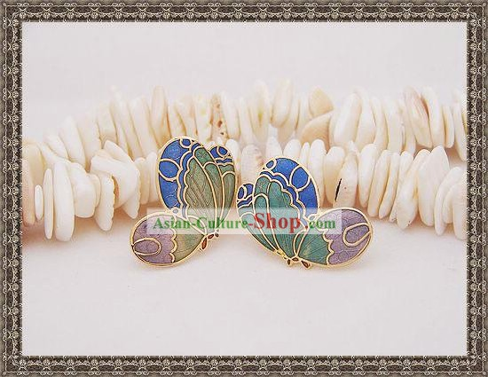 Chinese Classic Cloisonne Ear Studs-Butterfly Dream