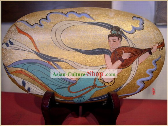 Chinese Dunhuang Hand Painted Cobblestone Mural Art-Playing Lute