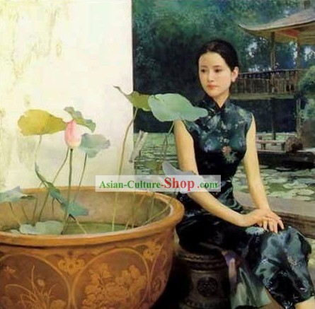 Chinese Oil Painting-Woman Besides Lotus
