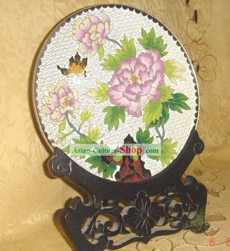 Chinese Butterfly and Peony Cloisonne Plate