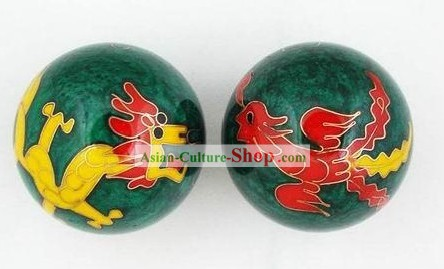 Chinese Body-Building Cloisonne Dragon and Phoenix Balls